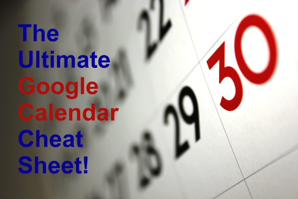 google calendar cheat sheet