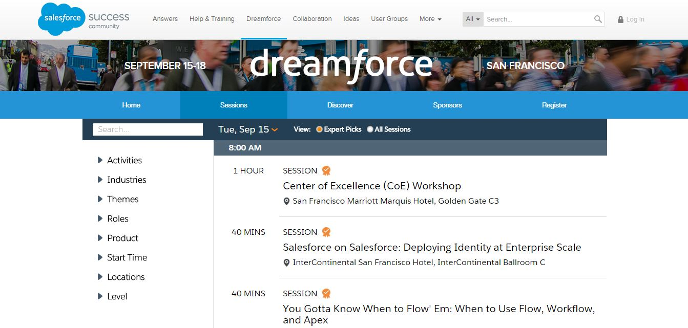 Dreamforce Agenda