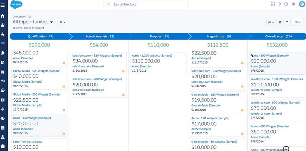 Salesforce Lightning Opportunities Board