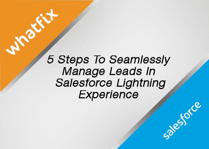 5 Steps To Seamlessly Mange Leads On Salesforce Lightning