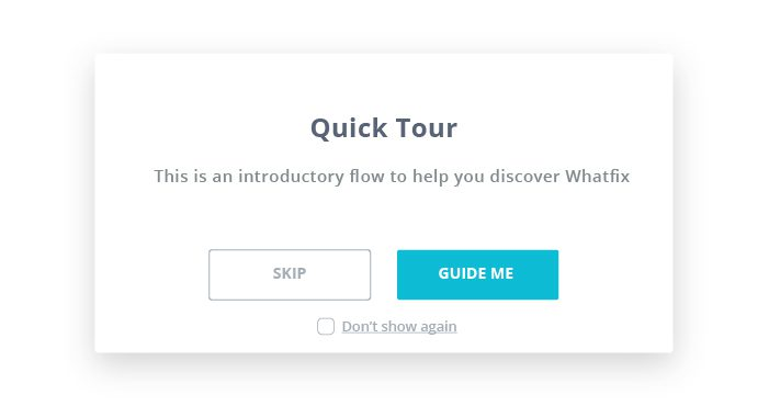 Whatfix guided popup - WalkMe alternatives