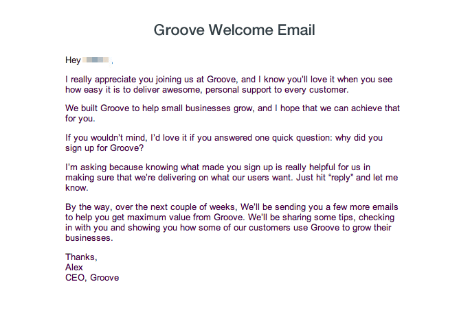 Groove CEO Email