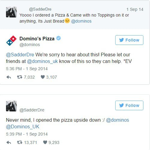 Domino's customer service on social media