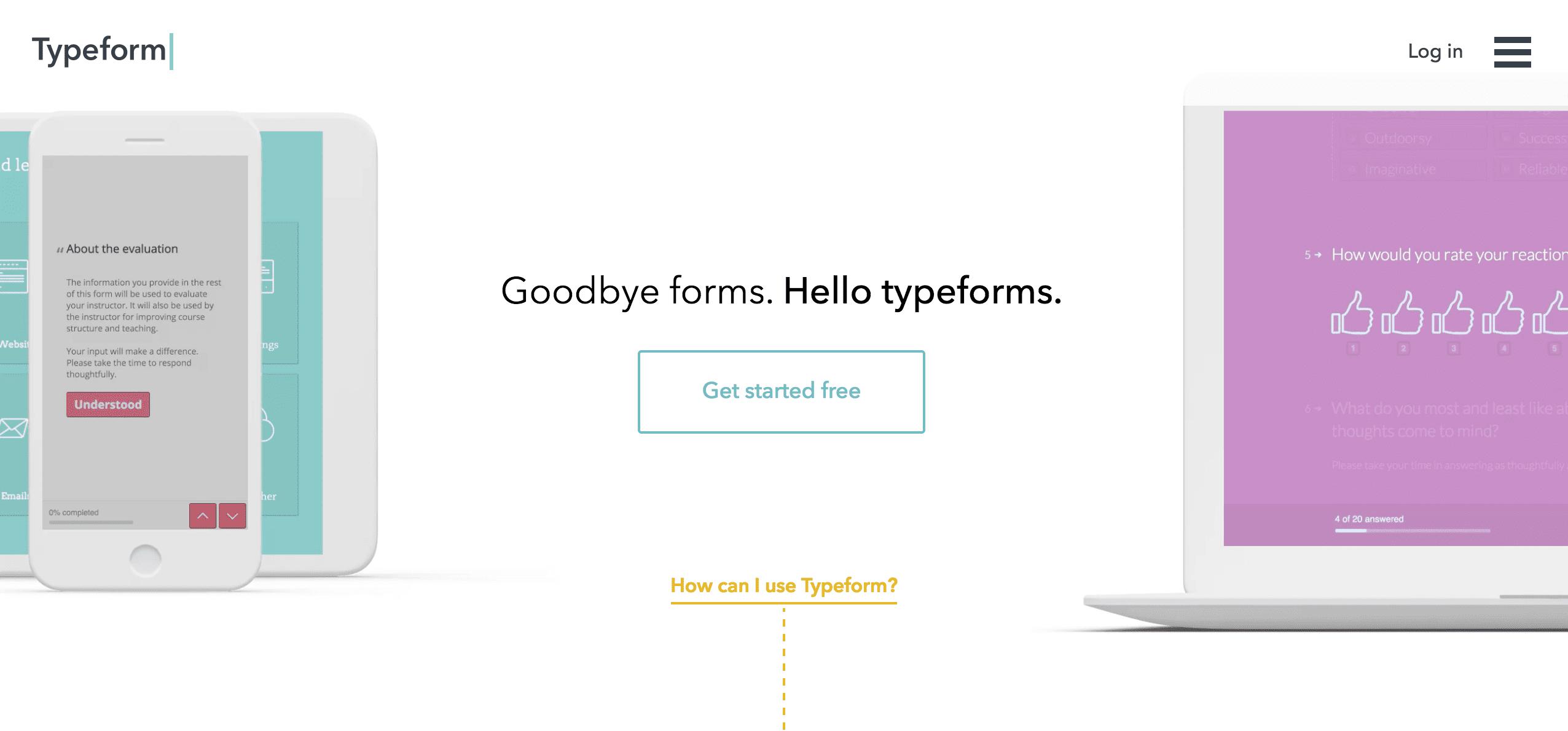 Typeform - user onboarding tools