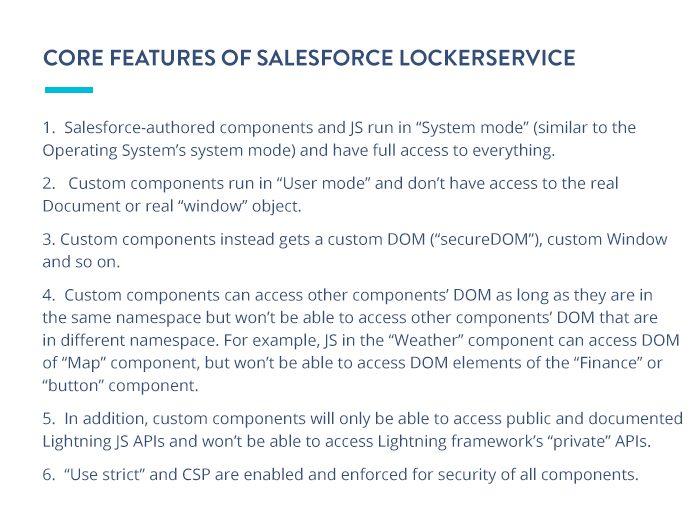 Core features of Salesforce LockerService
