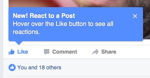 Facebook tooltip - product tour
