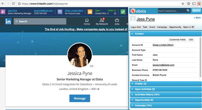 Ebsta - sales tools for Salesforce