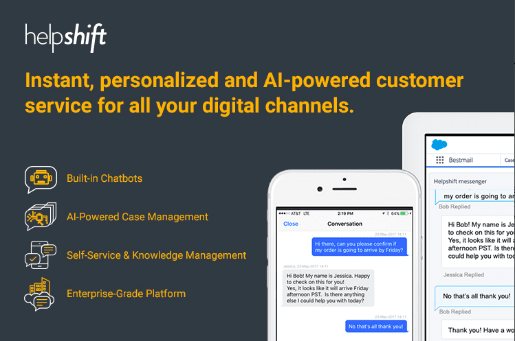 Helpshift - 11 Salesforce Integrations for Service Teams to Improve Online Customer Service