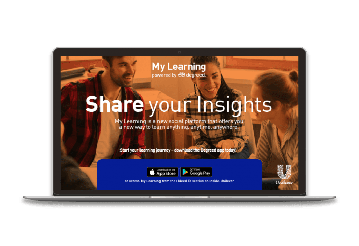 Unilever My learning: Microlearning examples