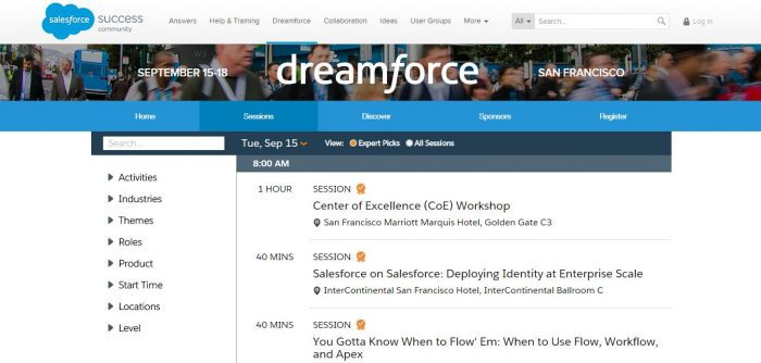 Dreamforce agenda builder