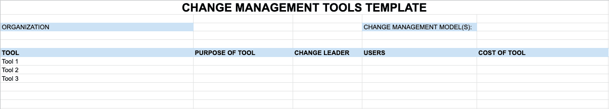 Change Management Tools Template