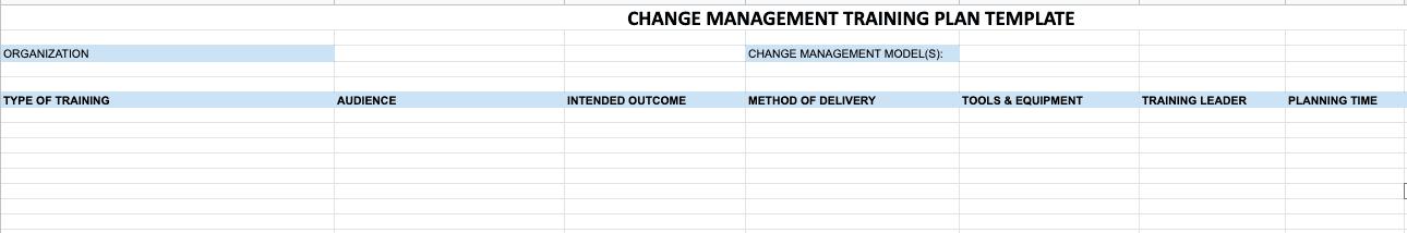 Change Management Training Plan Template