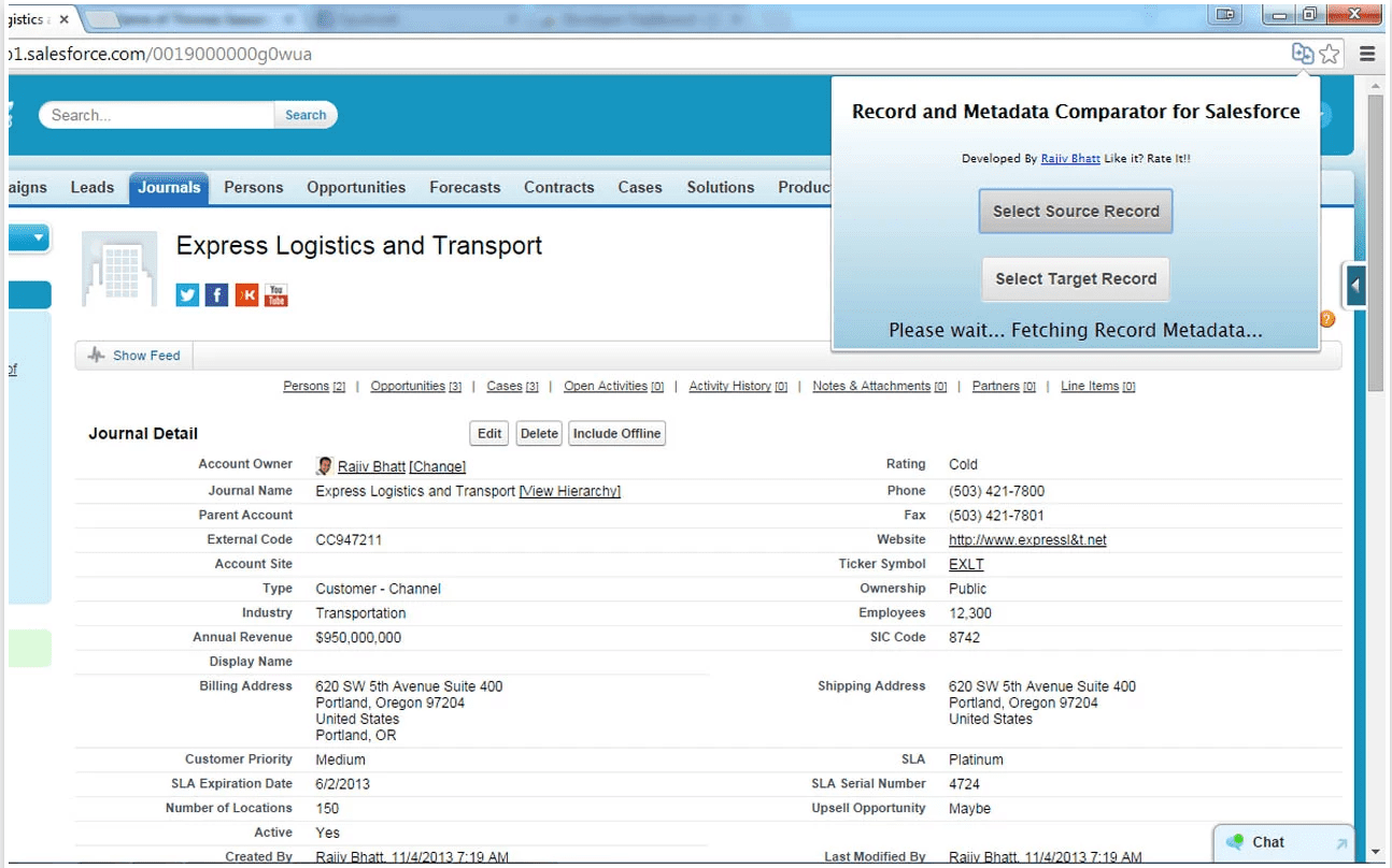 Record and Metadata Comparator for Salesforce