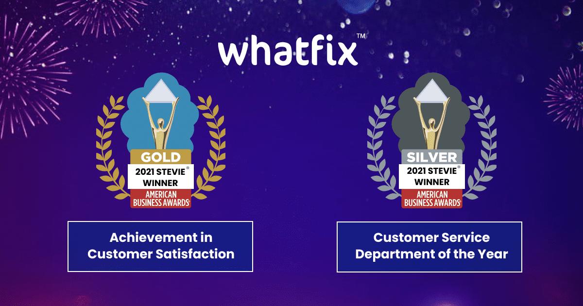 whatfix bags gold stevie award for customer satisfaction