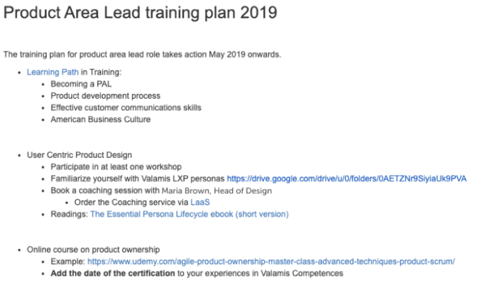 Product area lead training plan